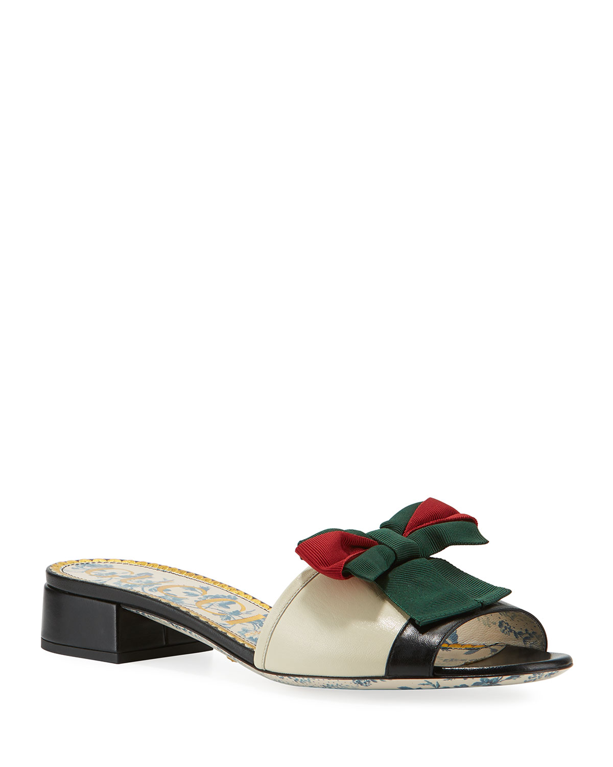 LEATHER SLIDE SANDAL WITH WEB BOW