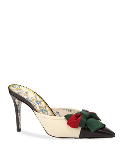 Jane Leather Cap-Toe Mule with Web Bow
