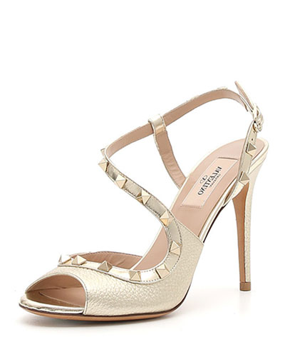 Rockstud Asymmetric Metallic Sandal