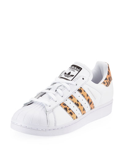 Superstar Leopard Print-Trimmed Leather Sneakers, White/Blk Cheetah