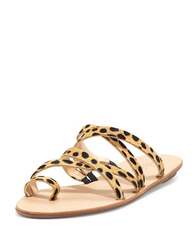 Sarie Cheetah-Print Calf-Hair Sandal, Cheetah
