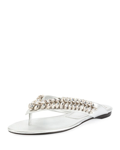 Jeweled Slide Flat Sandal, Silver