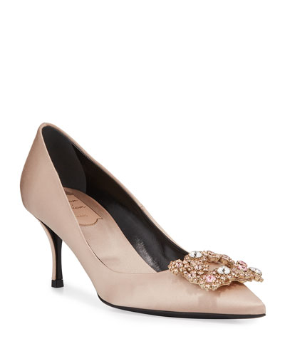 Flower Strass Satin Pump, Champagne
