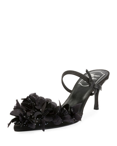Petals Embroidered Slingback Sandal, Black