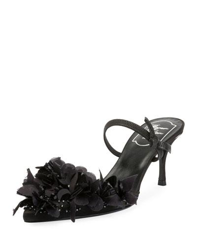 Petals Embroidered Slingback Sandal, Black