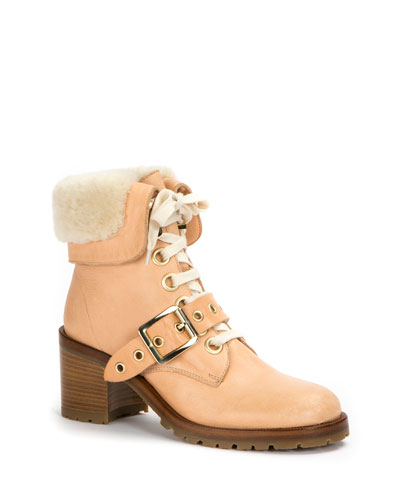 Kay Shearling Lace-Up Boot in Neutral