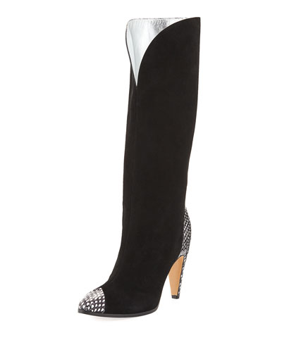 Metallic Fold-over Knee-High Boot