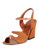 Glitter and Leather Chunky Sandal