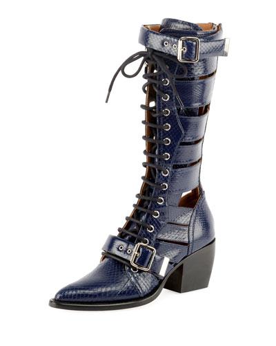 Riley Knee-High Snakeskin Boot, Stormy Night
