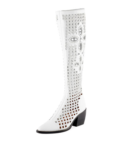 Riley Knee-High Woven Boot, White