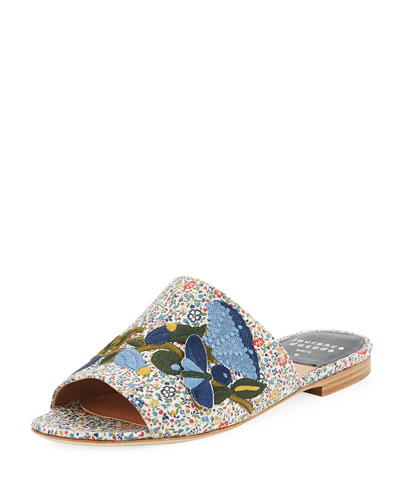 Nice Embroidered Flat Slide Sandal