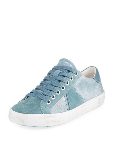 Baylee Shimmer Suede Sneaker, Blue Shadow