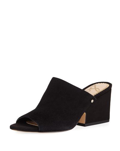 Rheta Suede Slide Sandal, Black