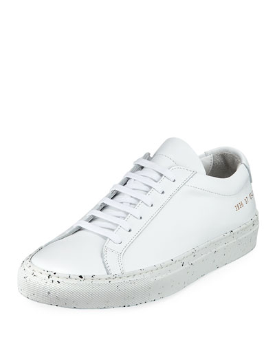 Achilles Low-Top Confetti Sneaker, White/Black