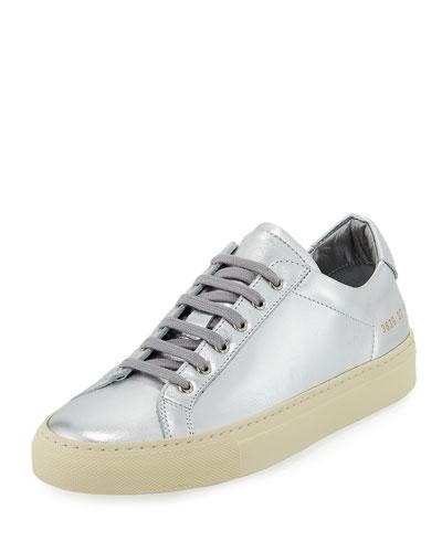 Achilles Retro Low-Top Metallic Sneaker, Silver