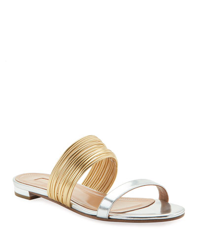 Metallic Strappy Slide Sandals