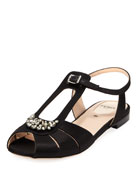 Chameleon Flat Jeweled Satin Sandal