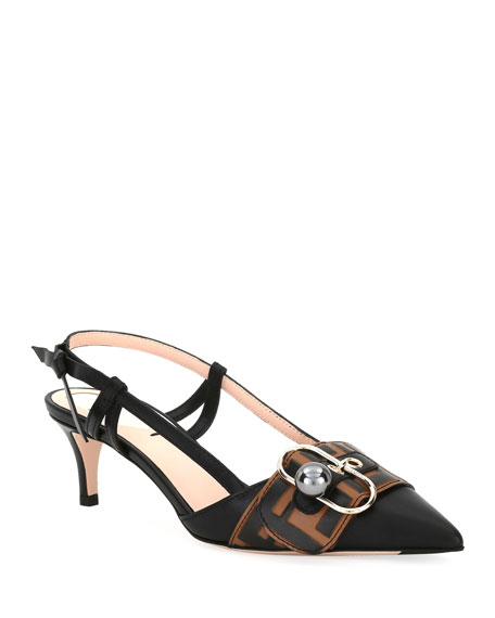 Fendi Pearland Leather Slingback Pumps