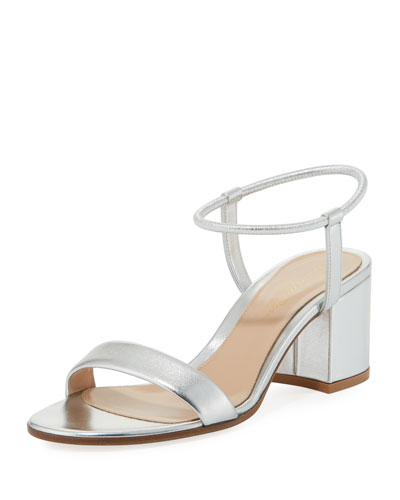 Metallic Leather Stretch Ankle-Wrap Sandal