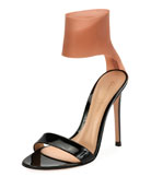 Patent and Latex Two-Tone Sandal, Black