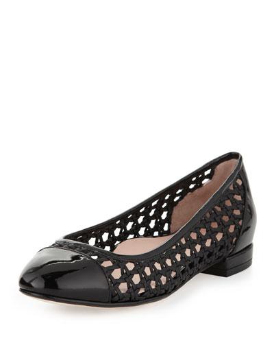 Beatriz Woven Cap-Toe Ballerina Flat, Black