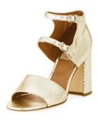 Randall Crackled Metallic Leather Block-Heel Sandal