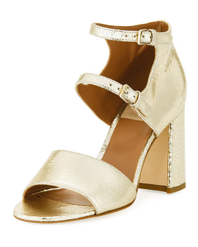 Randall Crackled Metallic Leather Block-Heel Sandal