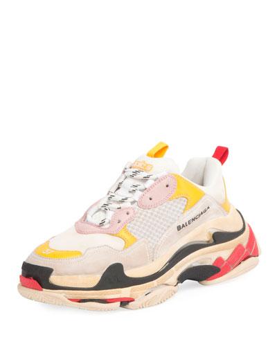Triple Multicolor Platform Sneaker, White/Gray