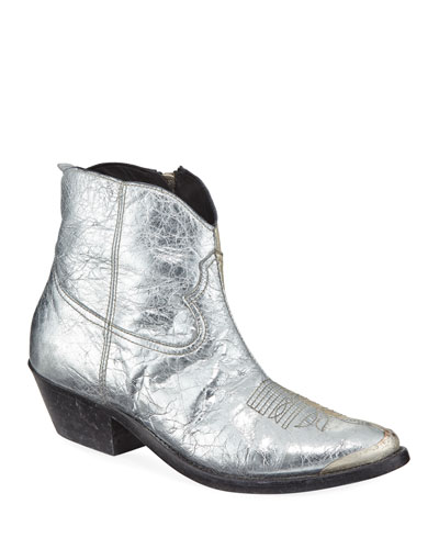 Young Metallic Crackled Western Booties