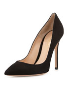 Gianvito Rossi Suede Point-Toe Pump, Black