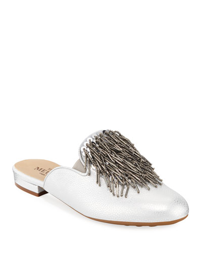 Kala Embellished Metallic Leather Mule