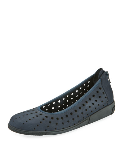 Dova Perforated Slip-On Flat, Navy