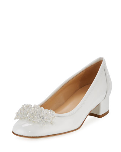 Henda Ornament Patent Pump, White