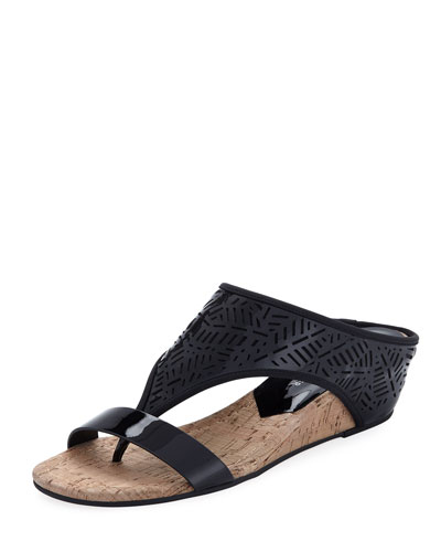 Darin Laser-Cut Demi-Wedge Sandal, Black