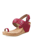 Gilly Floral Cork-Wedge Sparkle Suede Sandal
