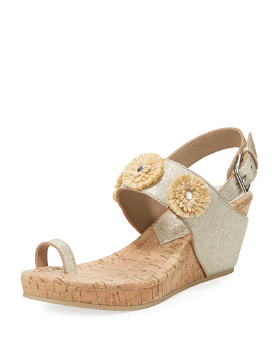Gilly Floral Cork-Wedge Metallic Leather Sandal