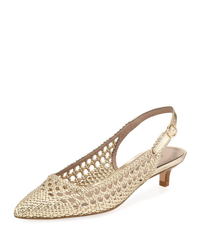 Ike Woven Metallic Leather Kitten-Heel Pump