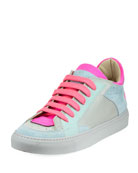 Neon Low-Top Lace-Up Sneaker