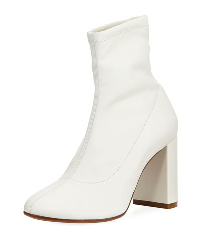 Sock-Like Smooth Leather Bootie