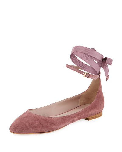 Suede Ankle-Wrap Ballet Flat