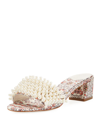 Tatiana 45mm Pearly-Strap Garden Slide Sandal