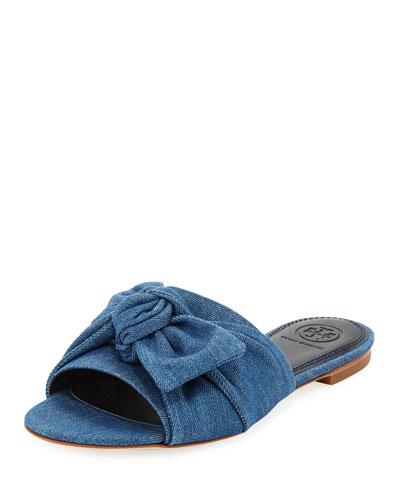 Annabelle Flat Denim Bow Slide Sandal