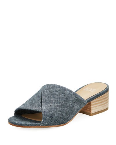Ruche Chambray Slide Sandal