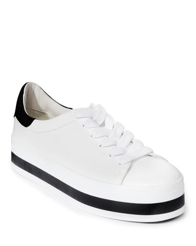 Ezra Lace-Up Platform Sneakers, White/Black