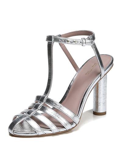 Eva Caged Metallic Leather Sandal