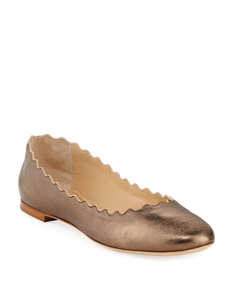 Chloe Scalloped Leather Ballet Flats