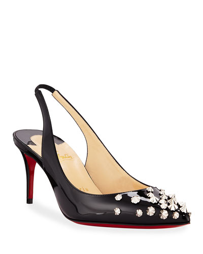 Drama Spikes 70mm Red Sole Slingback Pumps