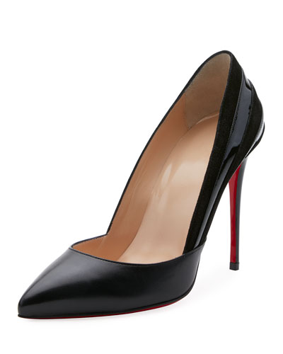 Super Leather/Suede Point-Toe Red Sole Pump