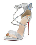 Choca Lux 120mm Metallic Fabric Red Sole Sandal