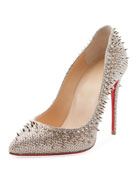 Escarpic 100mm Spiked Fabric Red Sole Pump